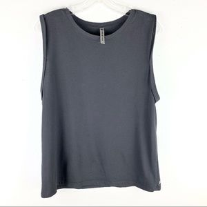 Fabletics Gray Cuffed Sleeve Muscle Tee Tank Top